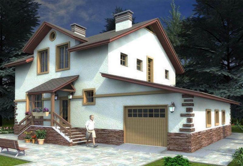 Проект коттеджа с гаражом и тремя спальнями из газобетона
