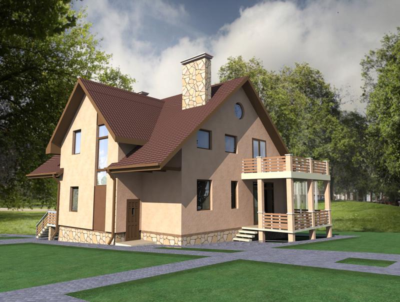 Проект дома с террасой и балконом