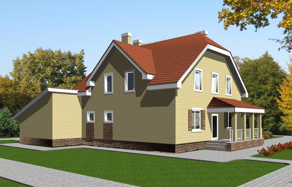 Проект уютного дома с мансардой и гаражом