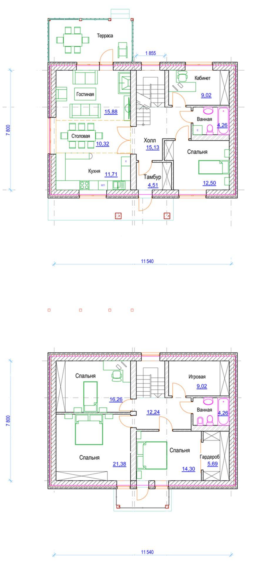 Проект дома с тремя спальнями и гостиной