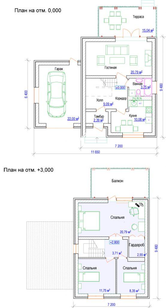 Проект дома с гаражом и тремя спальнями