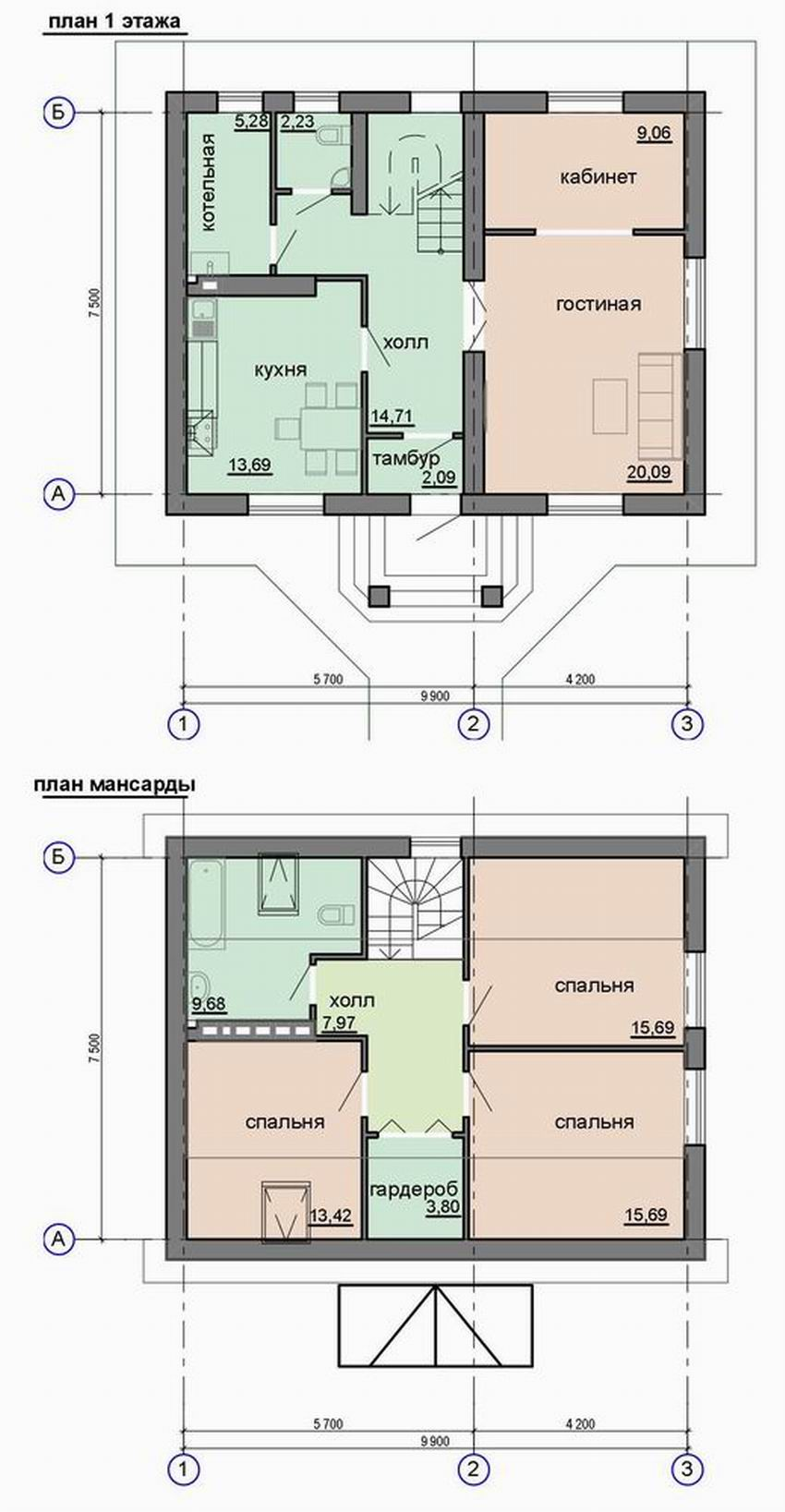 Проект дома 10 на 7 с мансардой