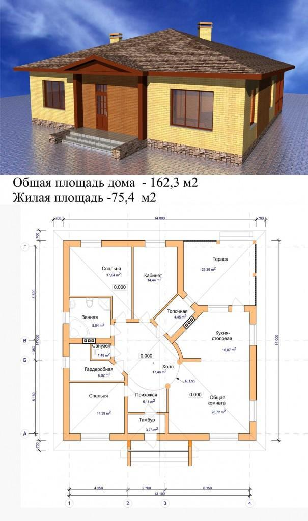 Проект квадратного одноэтажного дома