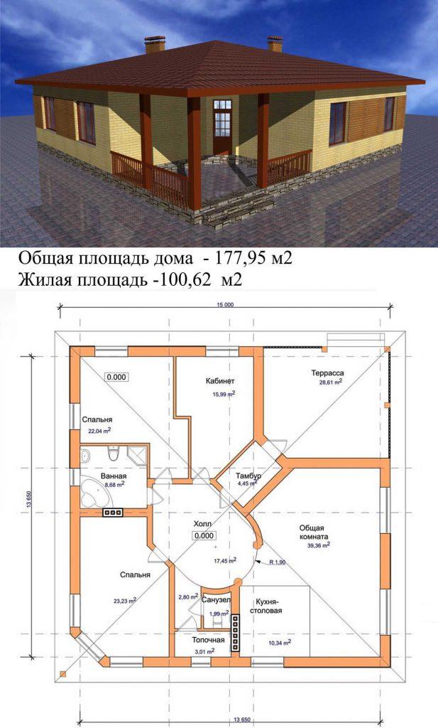 Проект дома квадрат в плане