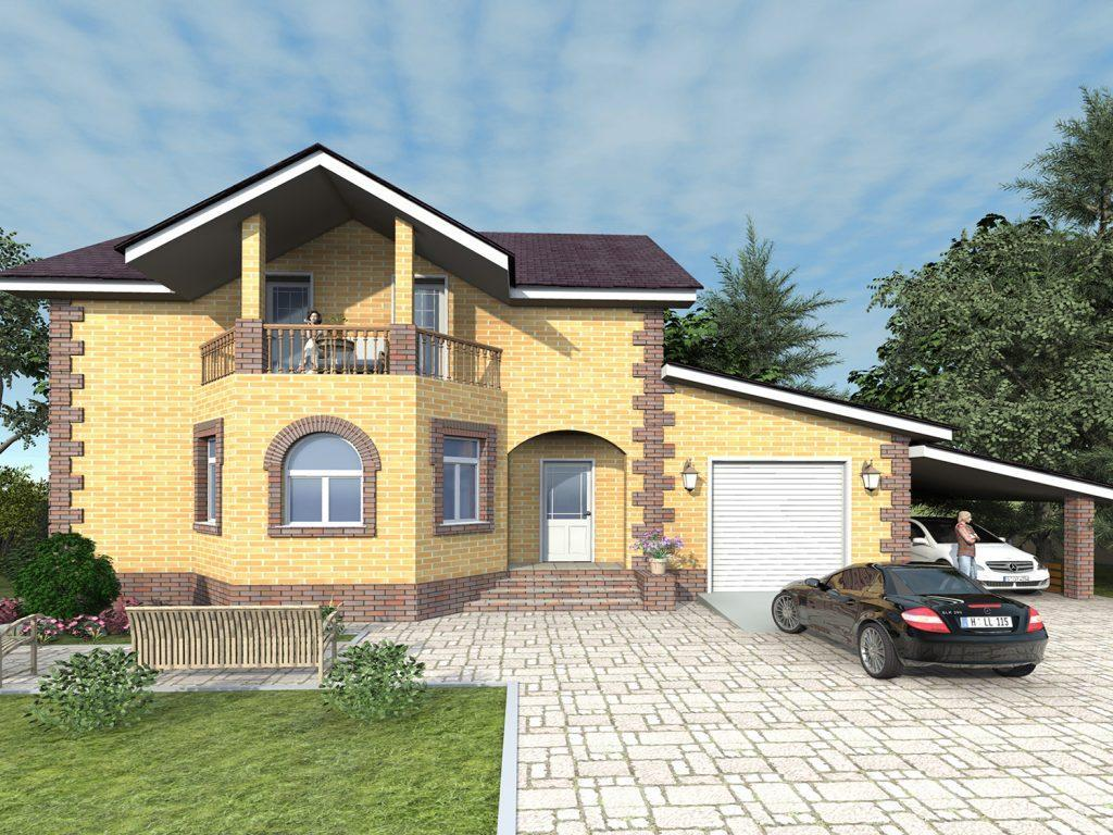 Проект дома с мансардой и навесом