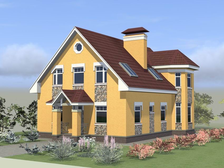 Готовый проект дома с эркером и террасой 12 на 8 м