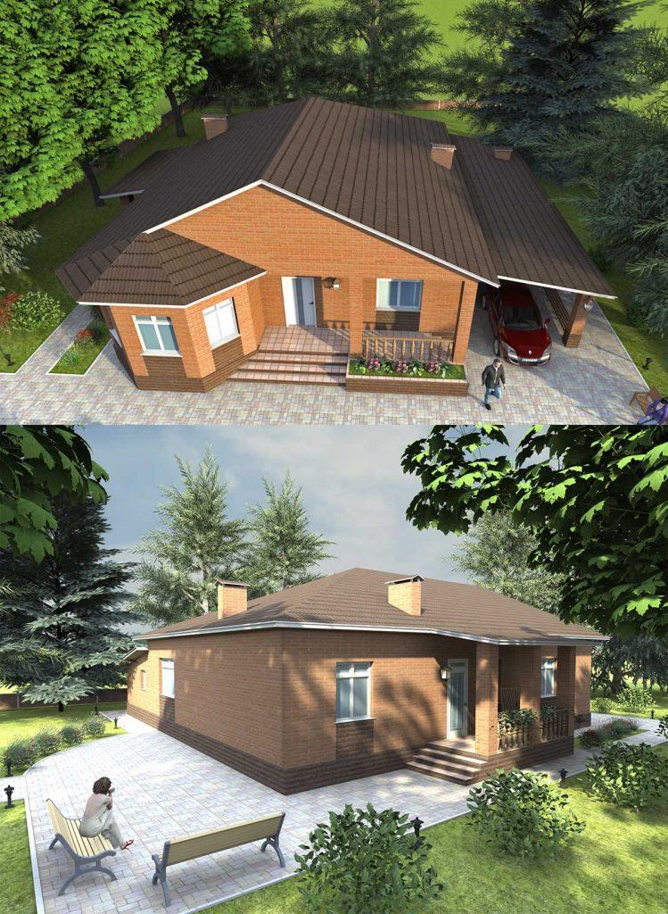 Проект одноэтажного дома с гаражом и навесом