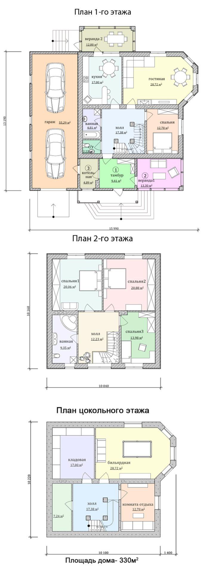 Проект дома с большой верандой и гаражом на две машины