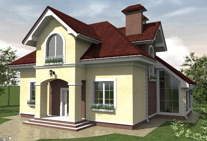 Проект дома с балконом и зимним садом