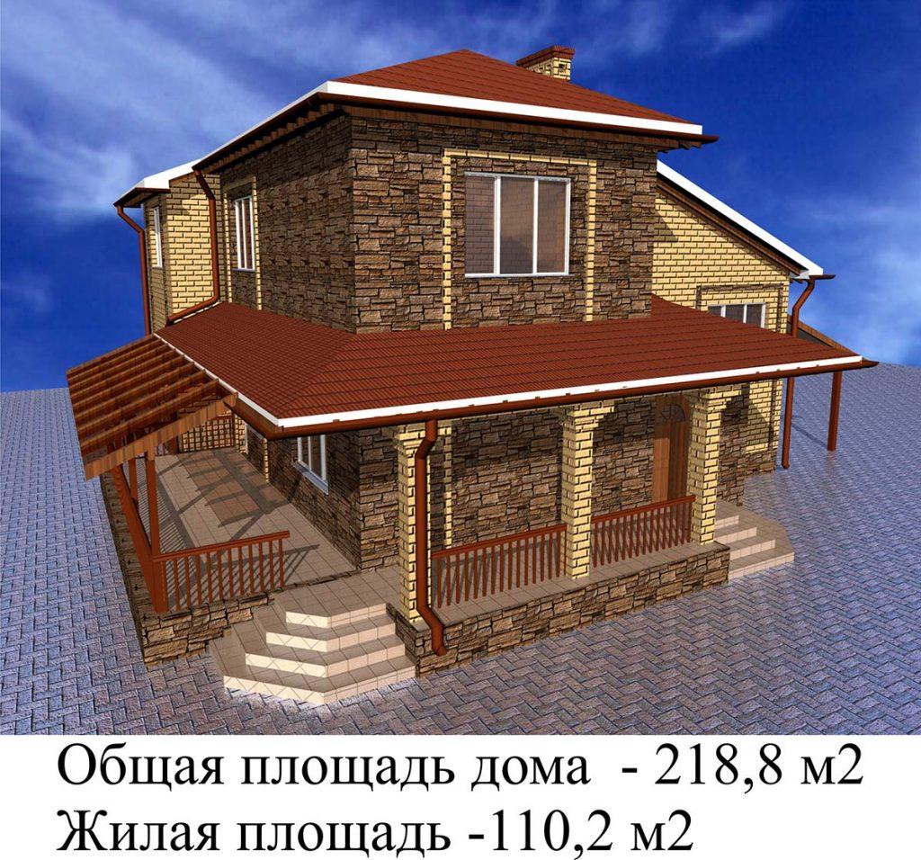 """Проект дома """"Тарасовский"""" с большой террасой"""