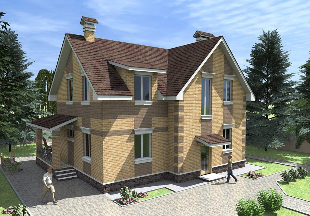 Проект уютного загородного коттеджа с террасой до 170 м2