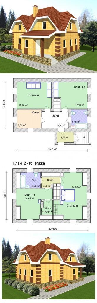 проект простого дома с мансардой