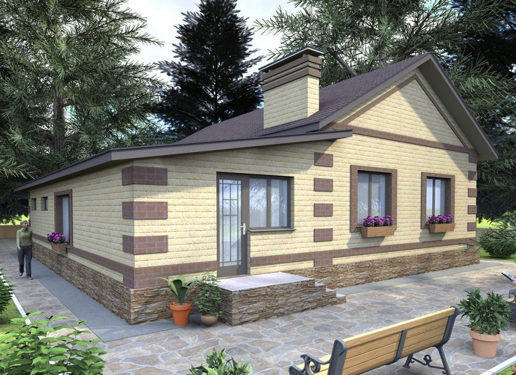 Проект простого бюджетного дома с гаражом