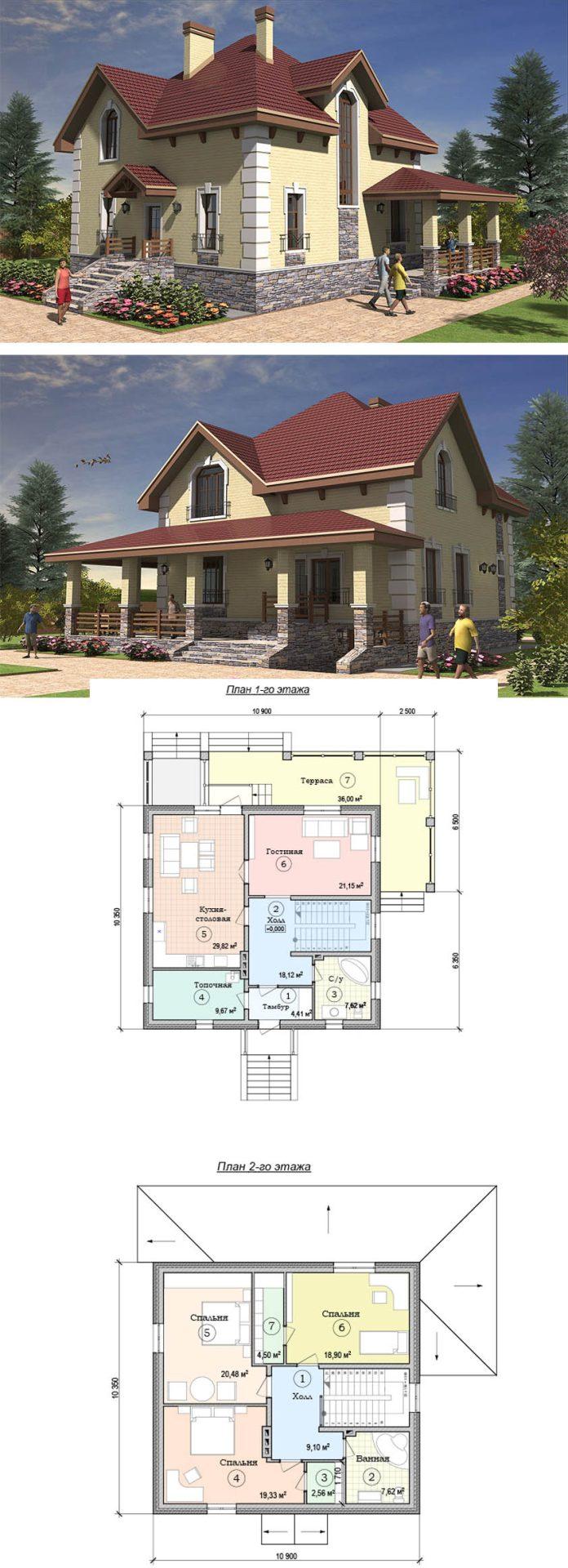 Проект элегантного дома в два этажа с уютной террасой