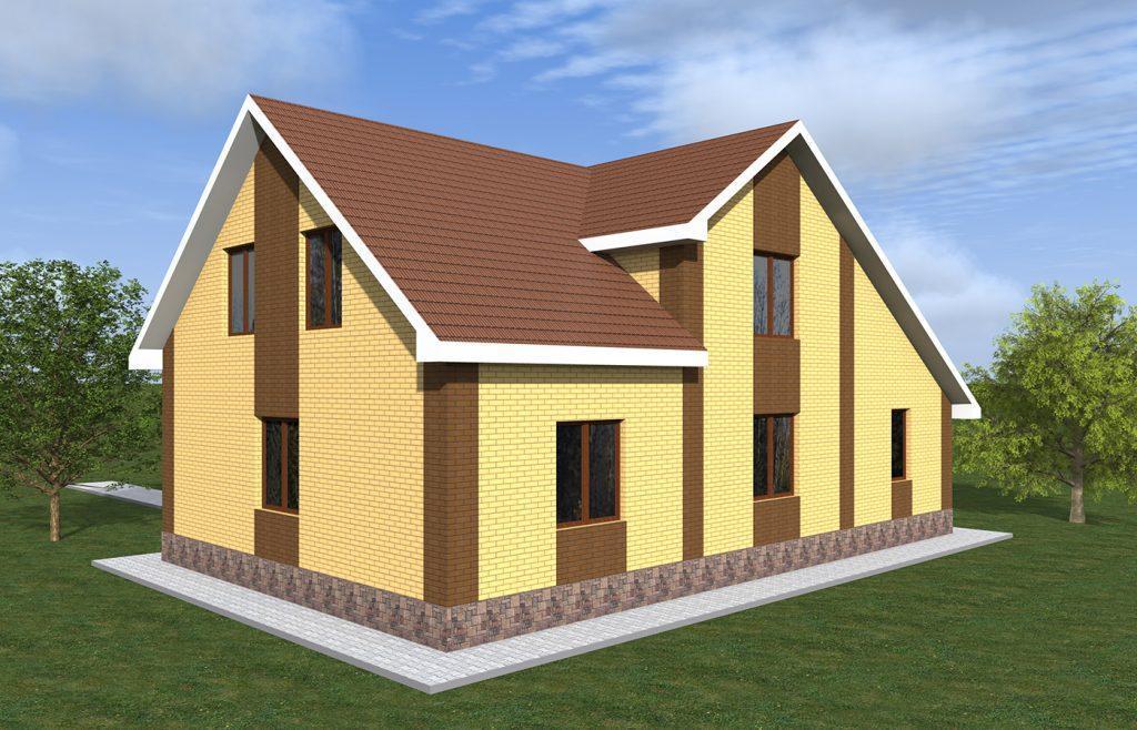 Проект небольшого кирпичного дома с гаражом и мансардой