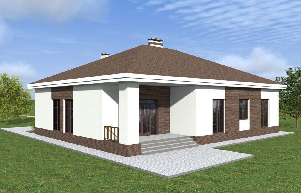 Проект одноэтажного большого дома с двумя гаражами