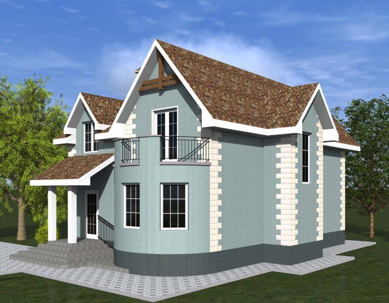Проект дома с полукруглым эркером