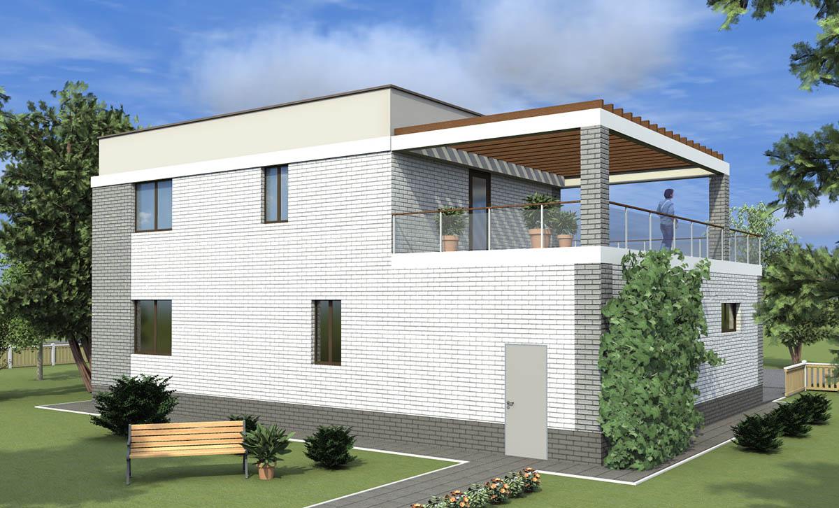 Проект коттеджа с плоской крышей до 200 кв.м.