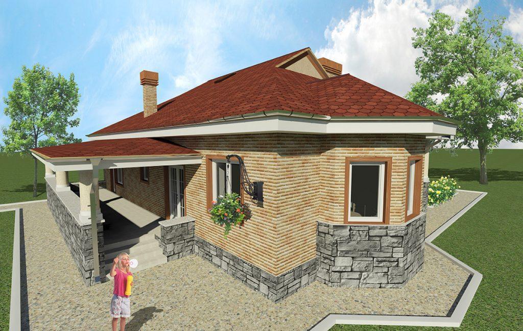 Проект одноэтажного дома 11 на 11 с летней террасой