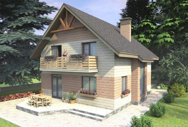 Проект коттеджа с двускатной крышей до 150 кв.м.