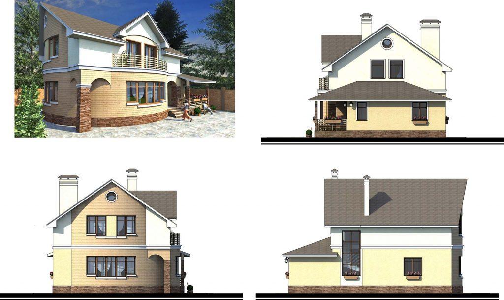 Проект дома с полукругом в плане