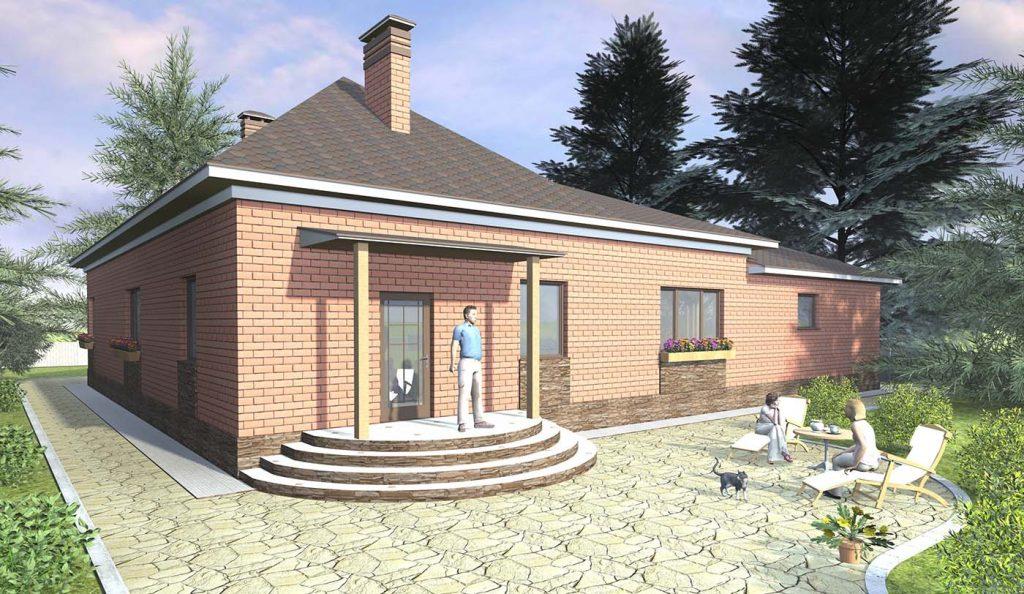 Проект одноэтажного Г-образного дома с большим гаражом