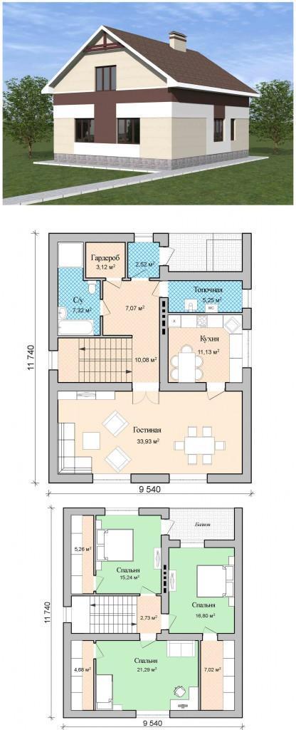 проект дома с мансардой 150 кв.м.