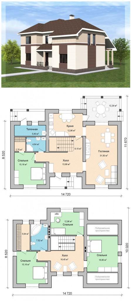Мансардный дом 172 м кв