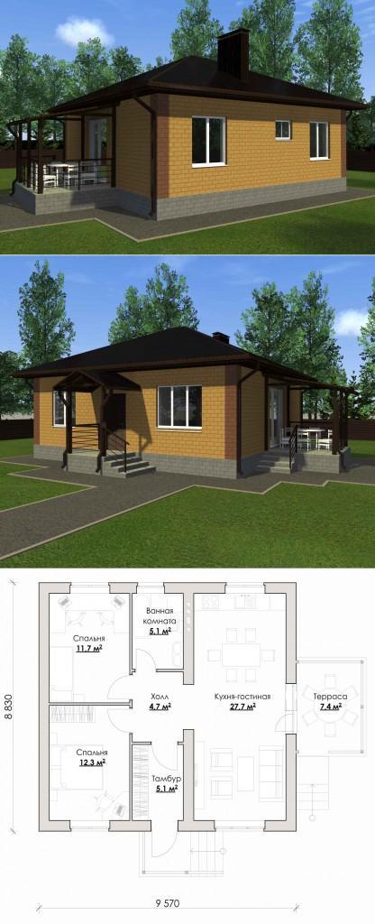 Проект одноэтажного дома 9 на 8