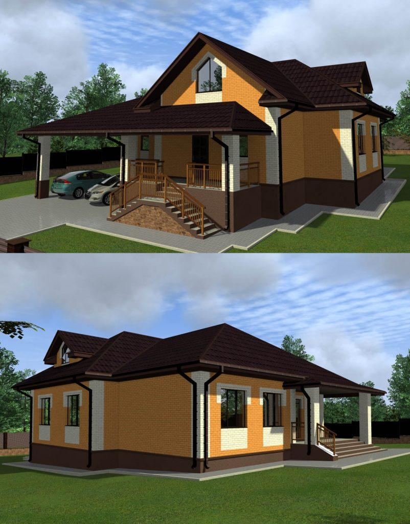 Готовый проект жилого дома 14 х 21 с навесом