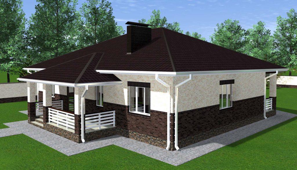 Проект одноэтажного дома 14 х 16 метров
