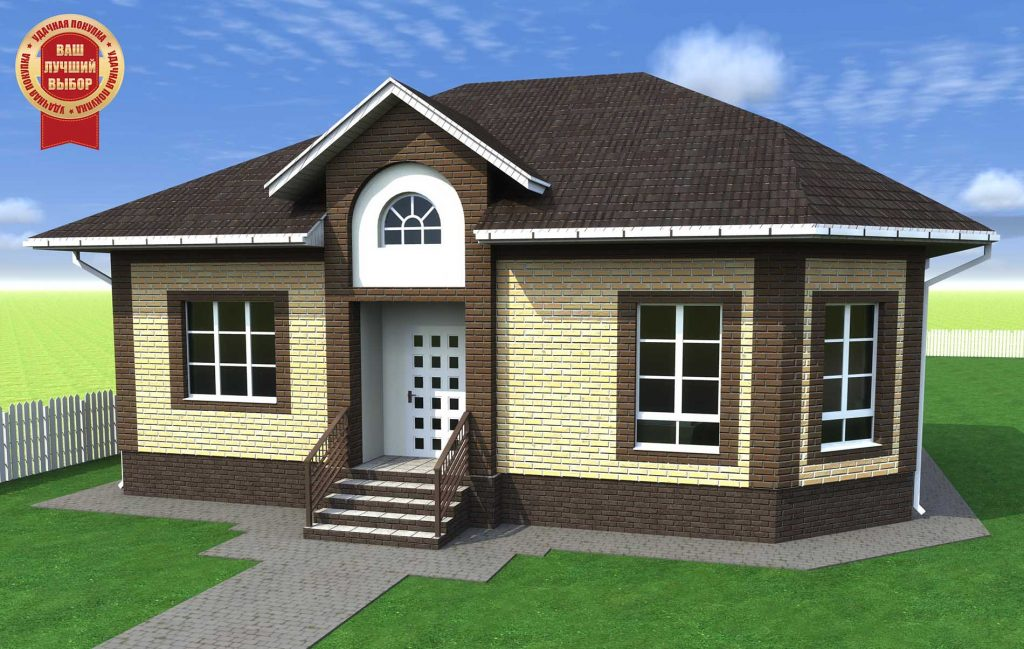 Проект дома до 90 кв.м. с большой гостиной