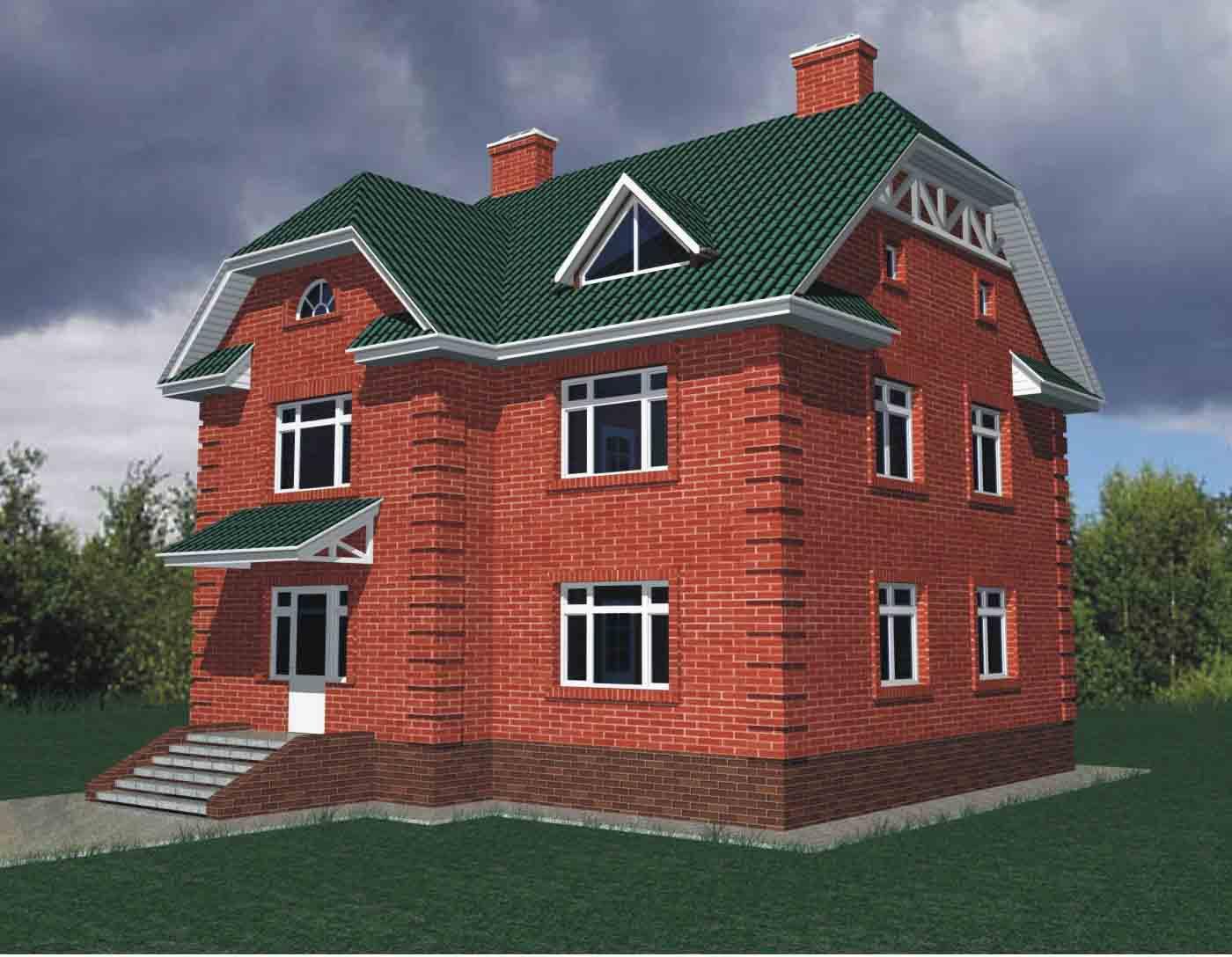 Проект дома из красного кирпича в два этажа