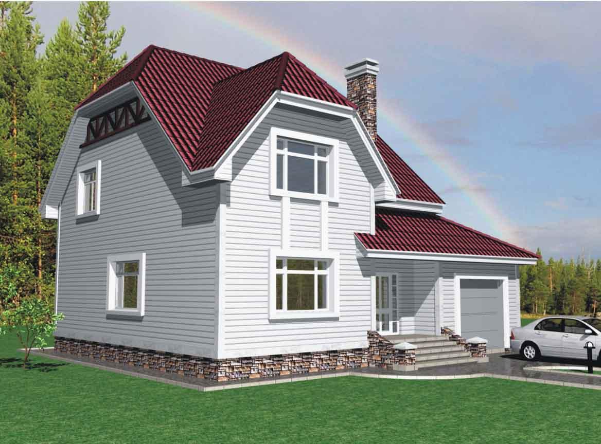 Проект дома с мансардой и гаражом до 180 кв.м.