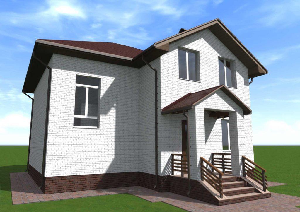 Проект белого дома с мансардой 100 квадратов
