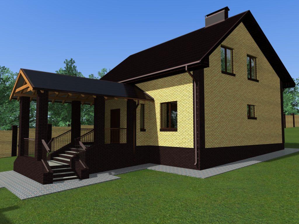 Проект дома с большим красивым крыльцом