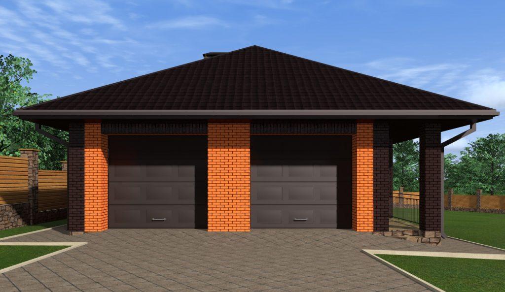 Проект одноэтажного дома с двумя гаражами