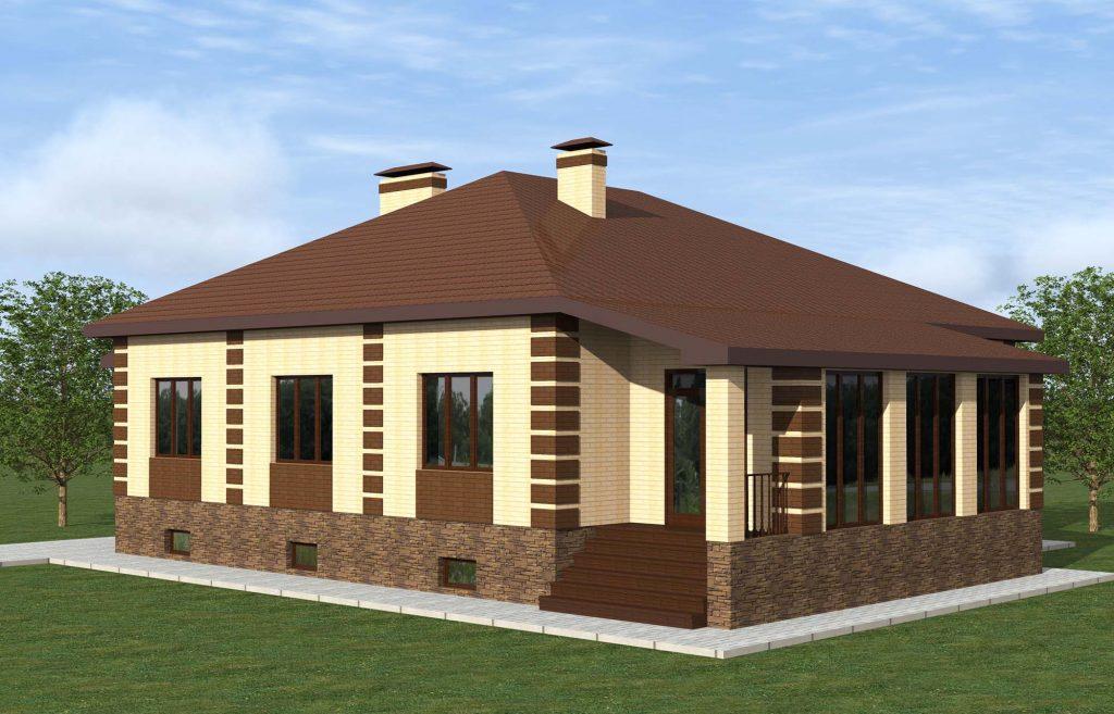 Проект пятикомнатного дома с верандой