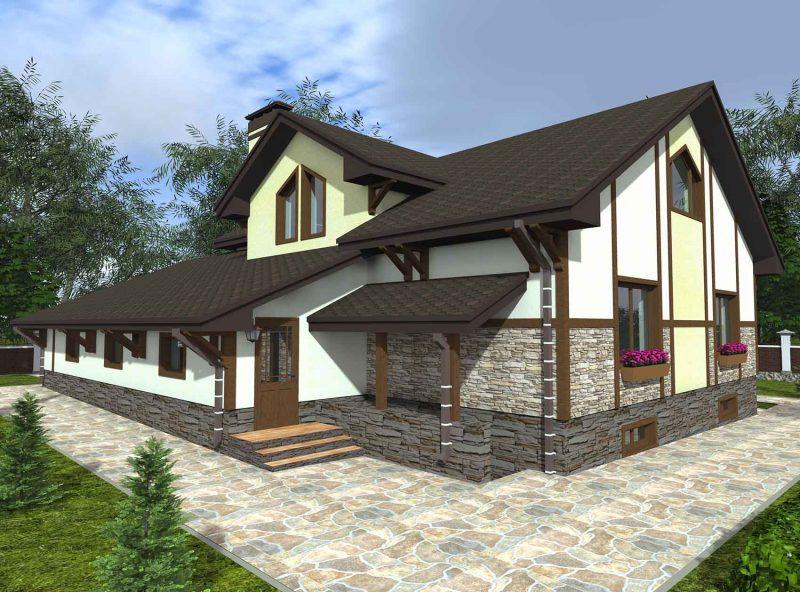 мансардный дом проект фото располагается