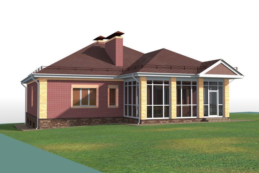 Проект одноэтажного кирпичного дома с цокольным этажом
