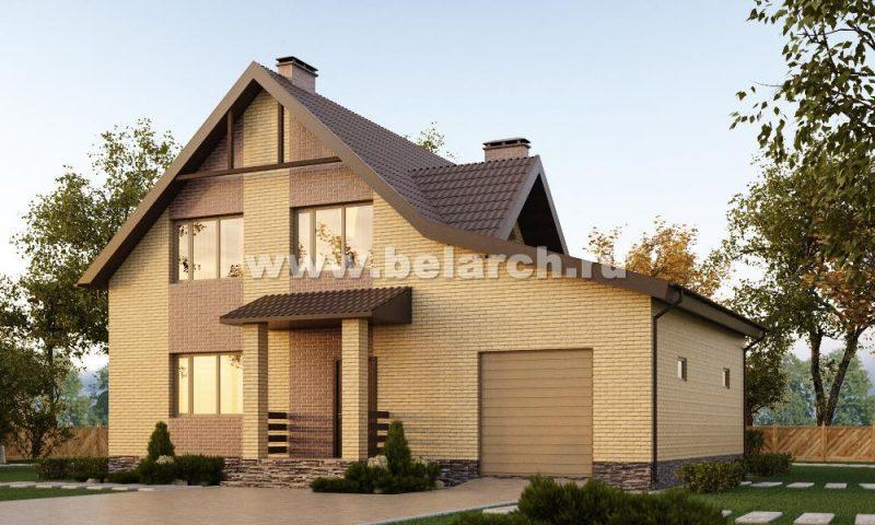 Проект небольшого дома с мансардой и гаражом площадью 160 м2.