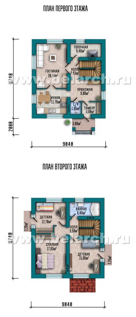 Проект компактного классического дома с мансардой 130 м2.
