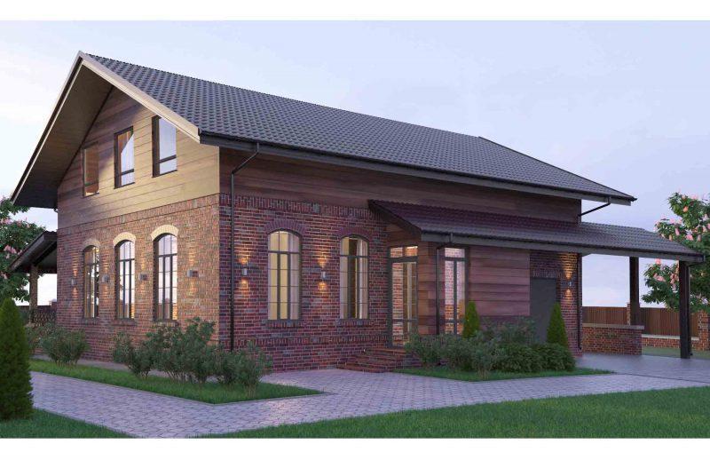 Проект кирпичного дома с деревянной мансардой