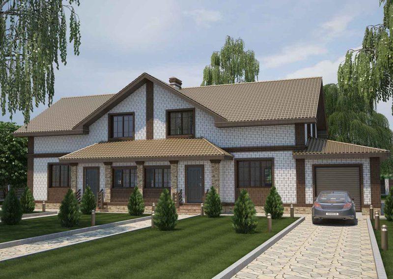 """Проект дома на два входа с мансардой """"Две семьи"""""""
