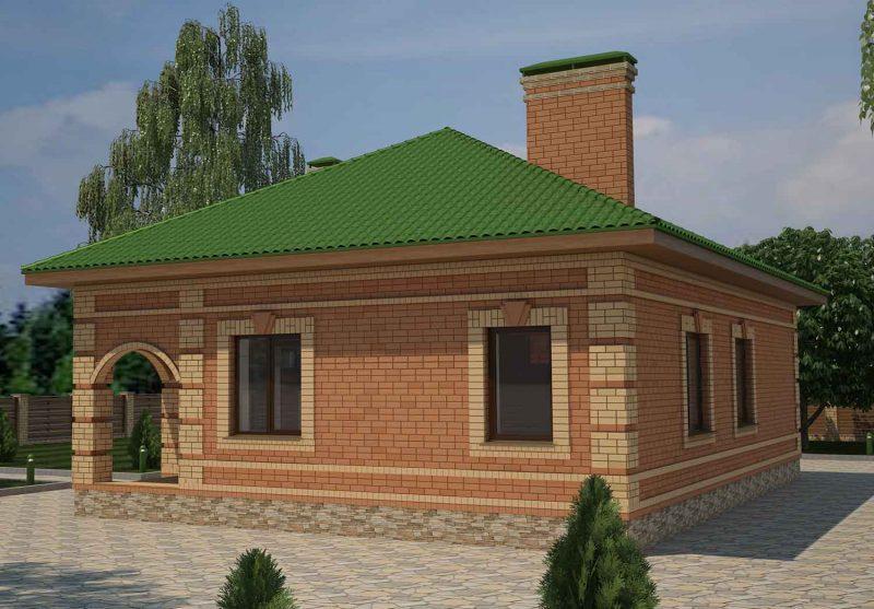 Проект дома до 100 м2 с двумя спальнями и гостиной