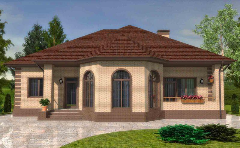Проект дома с эркером, тремя спальнями кухней-гостиной и гаражом до 180 кв.м.