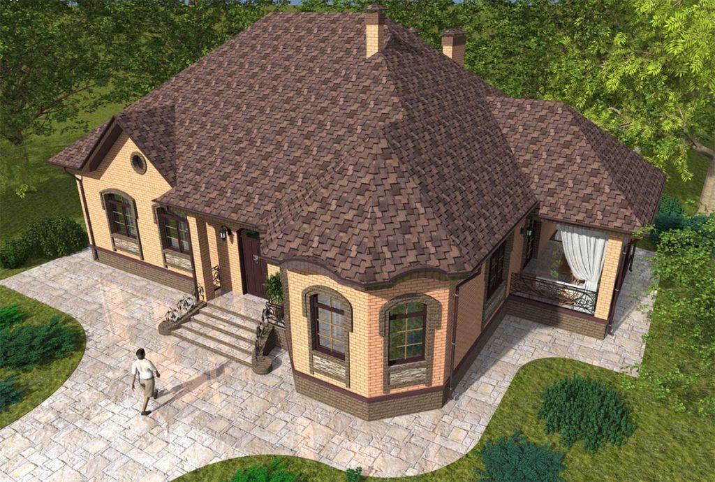 Проект дома с тремя спальнями и гостиной 120 м2