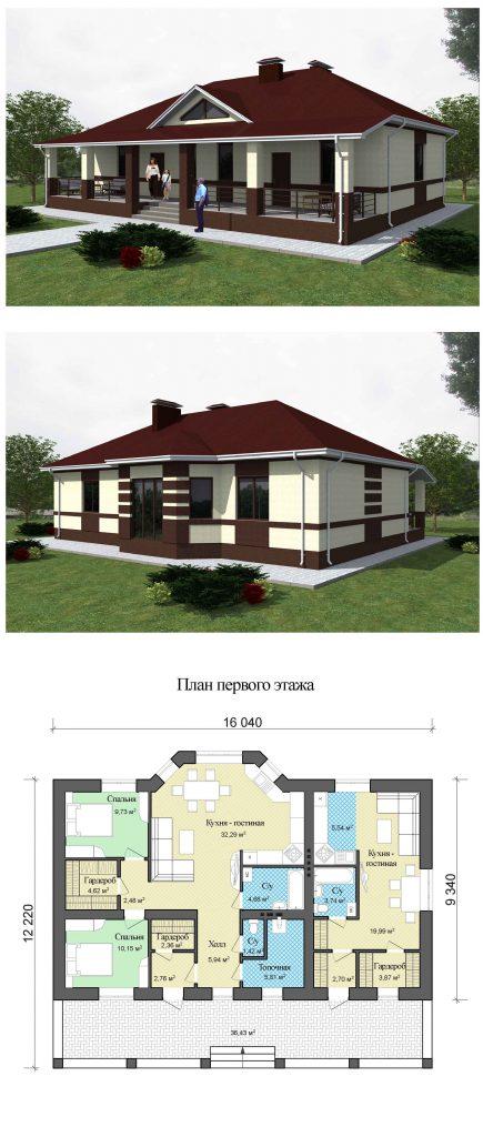 Проект дома на две семьи до 120 кв.м. и большой верандой