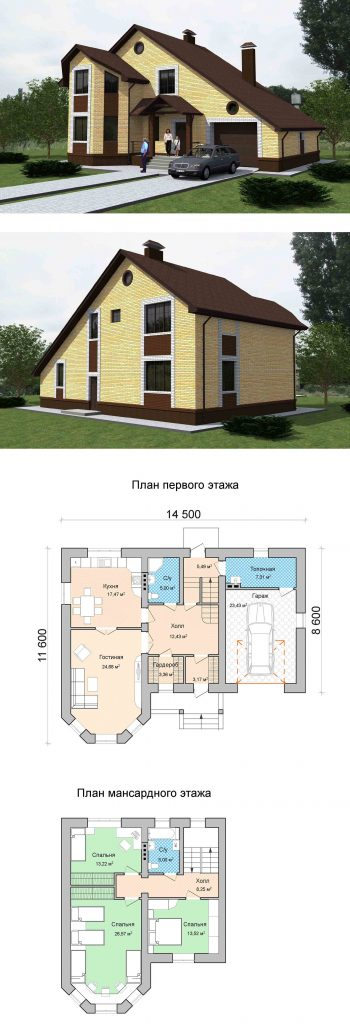 Проект дома с мансардой тремя спальнями и кухней гостиной до 200 кв.м.