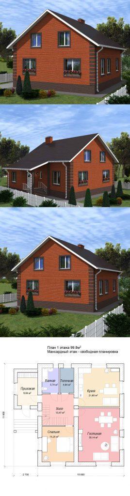 Проект простого дома 10 на 12 с мансардой до 100 м2